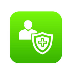 patient protection icon green vector image