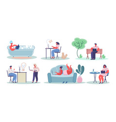 people using laptop computers flat vector image