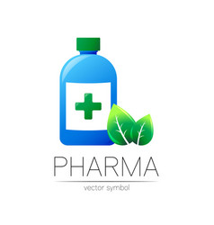 pharmacy symbol with blue bottle and cross vector image