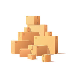 Pile parcel cardboard boxes stacked sealed goods vector