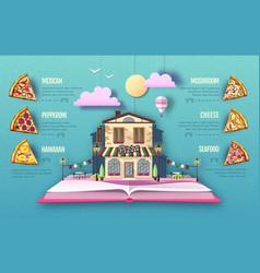 pizza menu design cut out paper art style design vector image