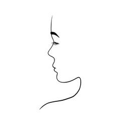 portrait a beautiful woman in profile vector image
