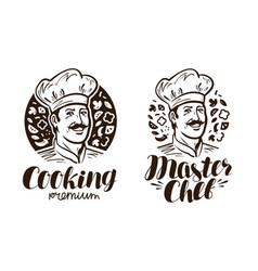 Portrait of happy chef logo or label cooking vector