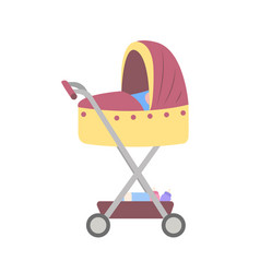 Pram for newborn kid stroller with baby boy vector