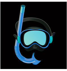 realistic blue diving mask on black background vector image