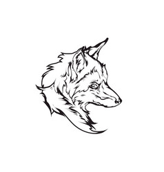 red fox head emblem vector image