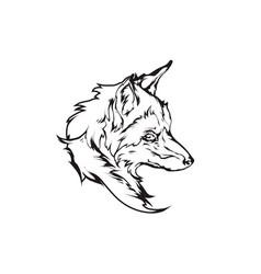 red fox head emblem vector image