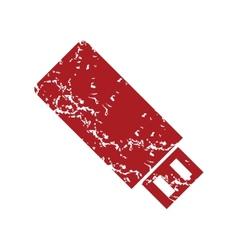 Red grunge usb stick logo vector