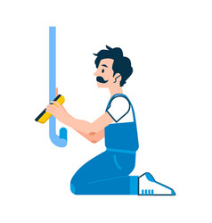 repairman glue wallpaper in house icon vector image