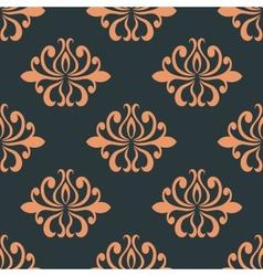 Retro seamless pattern with orange flowers vector image