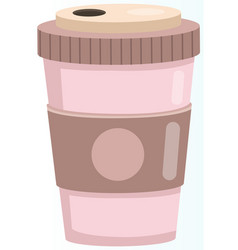 reusable cup tumbler or mug with cover isolated vector image