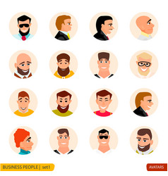 set avatars businessmen in face vector image