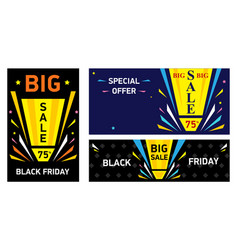 set banners black friday big sale vector image