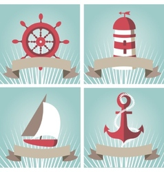 Set of seascape with nautical elements vector image