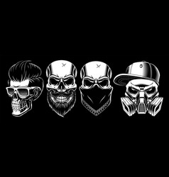 set of vintage skulls 2 vector image