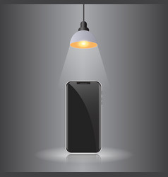 smartphone black on gray background with hanging vector image