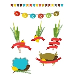sukkot collection - four symbols of Jewish vector image