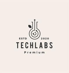 tech lab labs leaf hipster vintage logo icon vector image