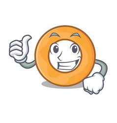 Thumbs up onion ring character cartoon vector