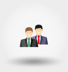 Two men in a business suit teamwork concept vector