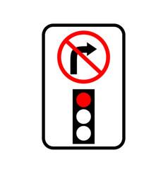 Usa traffic road signs no right turn on red vector