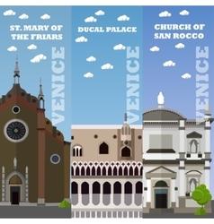 Venice tourist landmark banners vector image