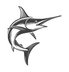 Vintage ocean swordfish concept vector
