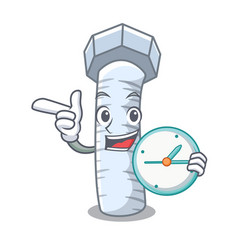With clock metal bolt that isolated on mascot vector