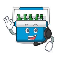 With headphone freezer bag mascot cartoon vector