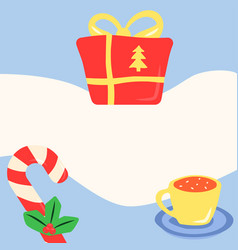 Xmas simple post template for social media feed vector