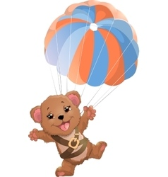 beautiful bear with parachute vector image