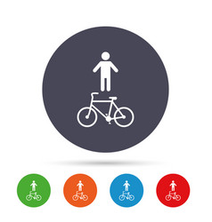 bicycle and pedestrian trail icon cycle path vector image