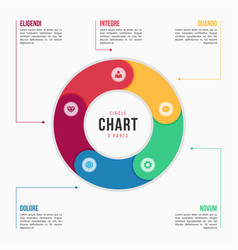 Circle chart infographic template with 6 parts vector