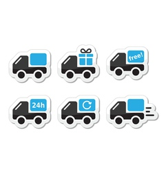 Delivery car shipping icons set vector image