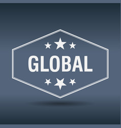 global hexagonal white vintage retro style label vector image vector image
