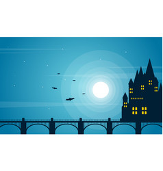 Halloween with dark castle collection background vector