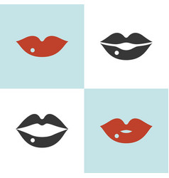 set of lips icon close and open mouth vector image