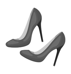 Shoes with stiletto heel icon in monochrome style vector image vector image