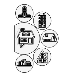 silhouette houses logo design in bubbles vector image