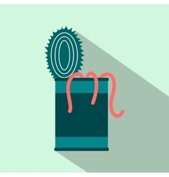 Tin of earthworms flat icon vector image