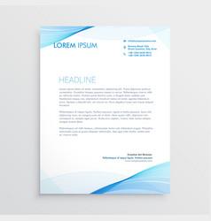 abstract blue wavy shape letterhead design vector image