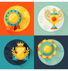 Backgrounds with trophy and awards in flat design vector