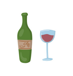 bottle of red wine and glass cartoon vector image