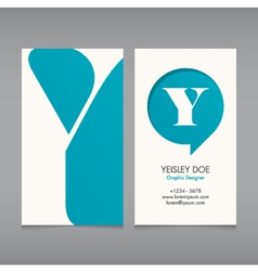Business card template letter y vector
