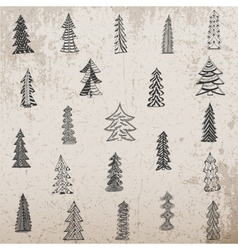 Hand drawn Christmas Tree Set on grunge Background vector image vector image