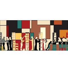 Library mosaic vector image