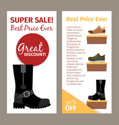 Men winter and autumn boots flyers vector