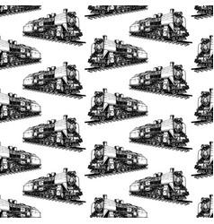 Pattern with steam locomotive vector