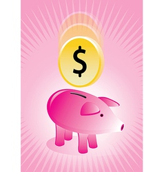 Piggy Bank with Coin Poster vector image vector image