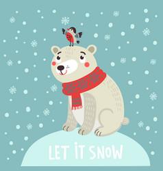 polar bear christmas card vector image